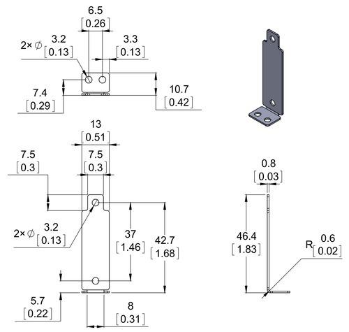 and gp2y0a41 distance sensors gp2y0a21 Pololu bracket pair for SHARP gp2y0a02